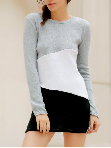 Outfit Simple Scoop Neck Long Sleeve Color Blcok Bodycon Women's Dress - S LIGHT GRAY Mobile