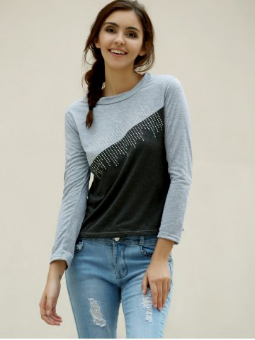 Affordable Casual Jewel Neck Color Splicing Diamonds T-Shirt For Women - L GRAY Mobile