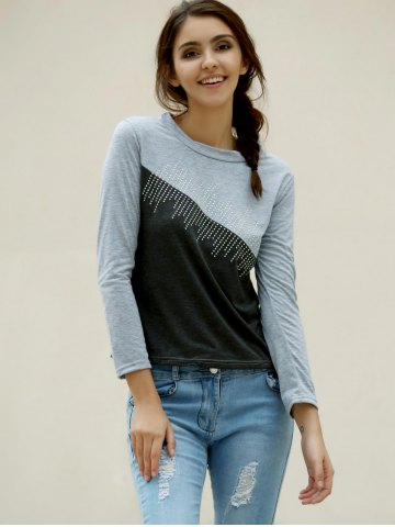 Fancy Casual Jewel Neck Color Splicing Diamonds T-Shirt For Women - L GRAY Mobile