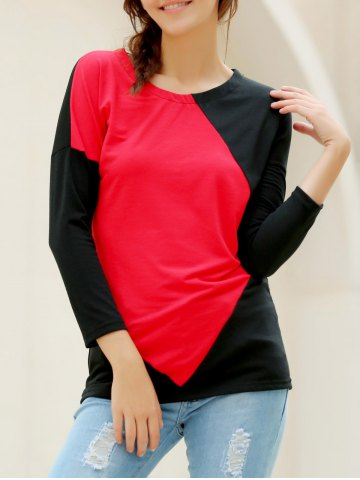 Elegant V-Neck Color Block Long Sleeve Loose-Fitting T-Shirt For Women - RED L