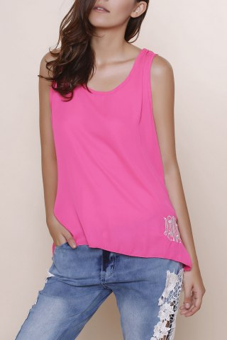 Affordable Stylish Scoop Collar Sleeveless Bowknot Design Embroidery Women's Tank Top ROSE XL
