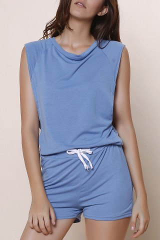 Online Fashioanble Scoop Neck Sleeveless Solid Color Drawstring Romper For Women