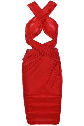 Latest Sexy Sleeveless Solid Color Cut Out Convertible Bodycon Women's Dress