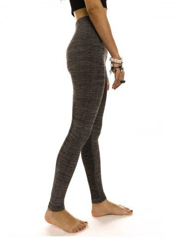 Fashion Stylish High Waisted Stretchy Slimming Gym Leggings For Women - M DEEP GRAY Mobile
