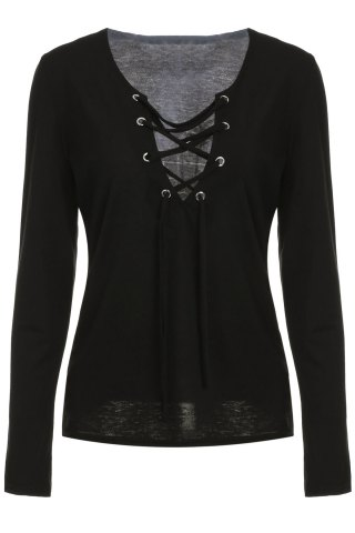 Chic Low Cut Lace-Up Tee BLACK S