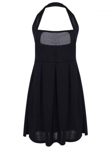 Shop Sexy Halter Sleeveless Low Cut Solid Color Women's Dress BLACK S