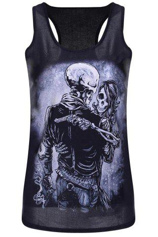 Discount Scoop Neck Skull Print Racerback Tank Top