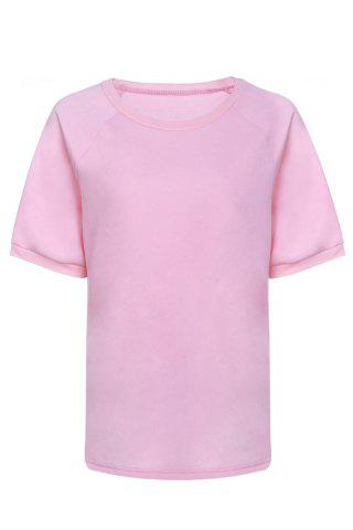 Latest Fashionable Round Neck Short Sleeve T-Shirt For Women PINK S