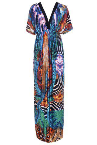 Affordable V Neck Printed Maxi Dress with Sleeves