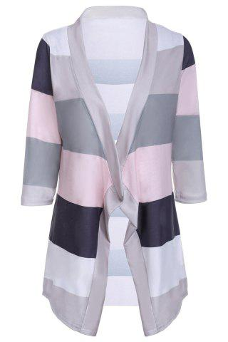 New Stylish Collarless 3/4 Sleeve Striped Irregular Asymmetric Cardigan For Women GRAY S