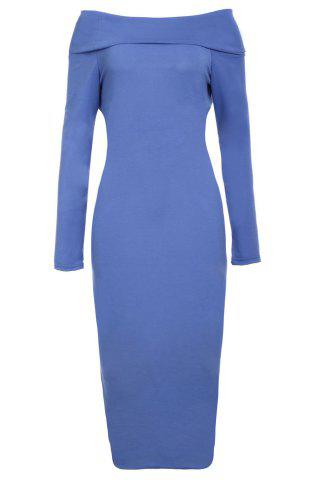 Cheap Off-The-Shoulder Long Sleeve Bodycon Midi Dress BLUE S