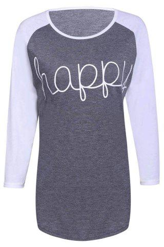 Casual Letter Printed 3/4 Sleeve Color Block Baseball T-Shirt For Women - Gray - L