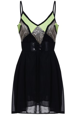 Sexy Style Spaghetti Strap Sleeveless Sequins Embellished Loose Dress For Women - Black - Xl