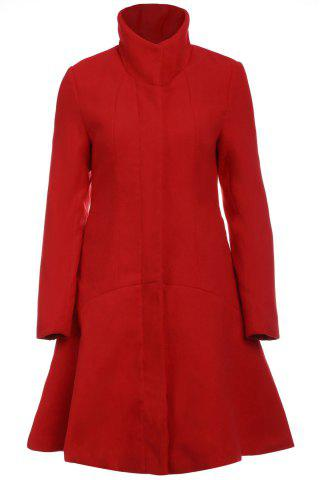 Fancy Stylish Stand-Up Collar Long Sleeve Flounced Solid Color Women's Coat