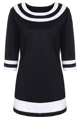 Brief Round Collar Color Spliced 3/4 Sleeve Dress For Women - BLACK 2XL