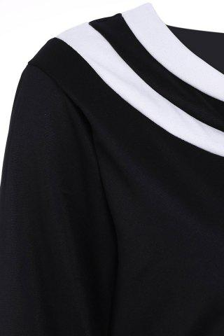 Hot Brief Round Collar Color Spliced 3/4 Sleeve Dress For Women - 2XL BLACK Mobile