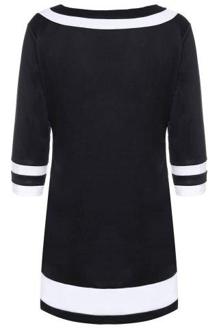 Outfits Brief Round Collar Color Spliced 3/4 Sleeve Dress For Women - 2XL BLACK Mobile