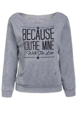 Best Casual Style Scoop Neck Long Sleeve Letter Print Women's T-Shirt GRAY S