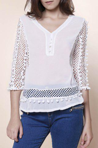 Fancy Elegant V-Neck Hollow Out Fuzzy Ball Decorated 3/4 Sleeve Blouse For Women WHITE S