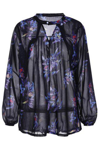 Trendy Stylish Keyhole Neck Long Sleeve Floral Print Women's Chiffon Blouse