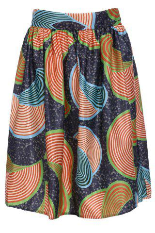 Unique Printed High Waist A Line Skirt COLORMIX S