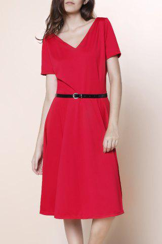 Trendy Vintage Solid Color V-Neck High Waist Ball Flare Dress For Women RED XL