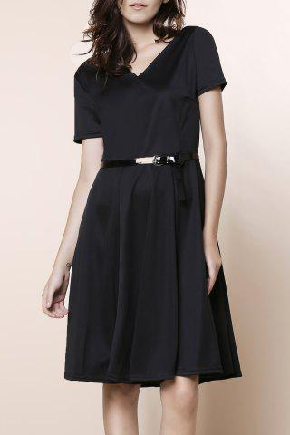 Buy Vintage Solid Color V-Neck High Waist Ball Flare Dress For Women BLACK 2XL