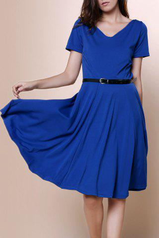 Vintage Solid Color V-Neck High Waist Ball Flare Dress For Women - Blue - Xl