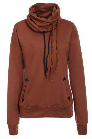 Trendy Layered Collar Pullover Drawstring Sweatshirt BROWN S
