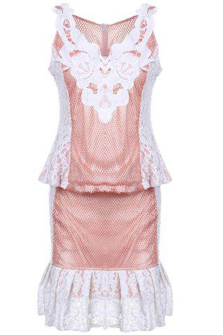 Outfits Fashionable Women's Sleeveless V-Neck Lace Dress OFF WHITE S