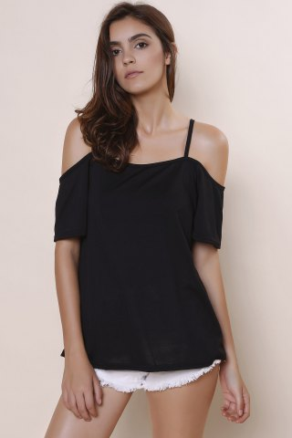 Sale Sexy Spaghetti Strap Solid Color Short Sleeve T-Shirt For Women - XL BLACK Mobile