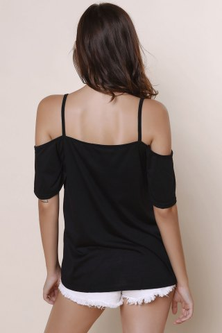 Shops Sexy Spaghetti Strap Solid Color Short Sleeve T-Shirt For Women - XL BLACK Mobile