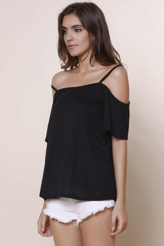Hot Sexy Spaghetti Strap Solid Color Short Sleeve T-Shirt For Women - XL BLACK Mobile