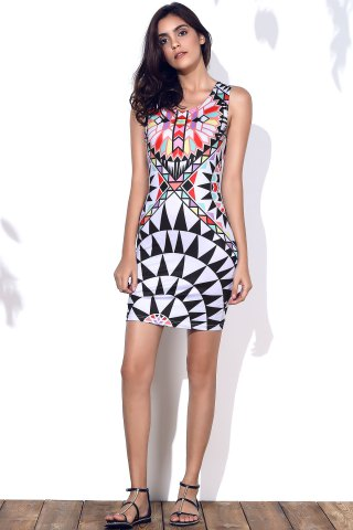 Online Stylish Round Neck Geometric Pattern Sleeveless Bodycon Dress For Women - M COLORMIX Mobile