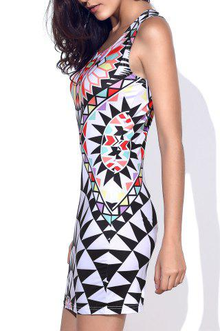 Online Stylish Round Neck Geometric Pattern Sleeveless Bodycon Dress For Women COLORMIX L