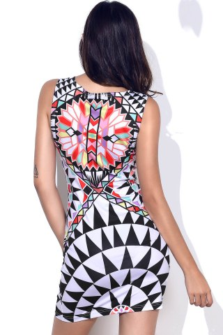 Outfits Stylish Round Neck Geometric Pattern Sleeveless Bodycon Dress For Women - L COLORMIX Mobile