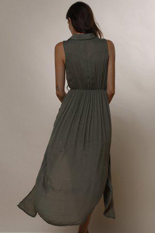 Chic Crossover Maxi Dress With Slits - M ARMY GREEN Mobile