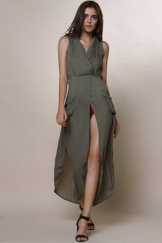 Shop Crossover Maxi Dress With Slits - M ARMY GREEN Mobile