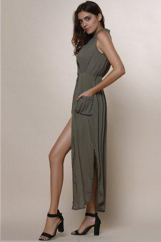 Sale Crossover Maxi Dress With Slits - M ARMY GREEN Mobile