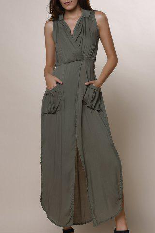 Store Crossover Maxi Dress With Slits ARMY GREEN M