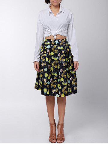 Outfit Box Pleated Midi A Line Skirt