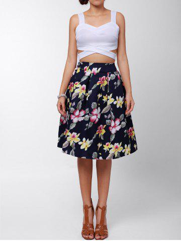 Best Box Pleated Midi A Line Skirt
