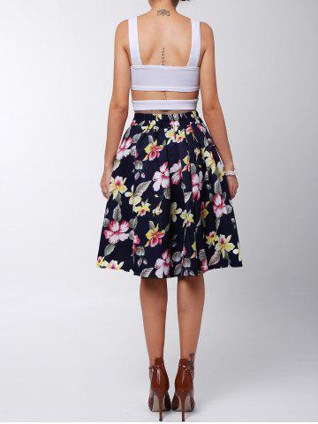 Affordable Box Pleated Midi A Line Skirt - L RED Mobile