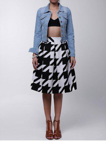 Chic Houndstooth Box Pleated Midi Skirt WHITE/BLACK L