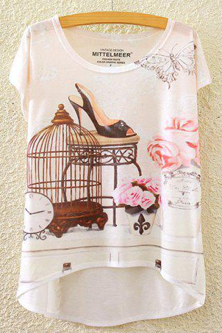Outfits Stylish Round Neck Short Sleeve Floral and Butterfly Print High-Low Hem T-Shirt For Women