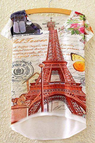 Store Stylish Round Neck Short Sleeve Tower and Letter Print High-Low Hem T-Shirt For Women