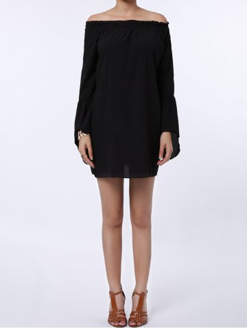 Outfits Sexy Off The Shoulder Flared Sleeve Solid Color Dress For Women BLACK XL