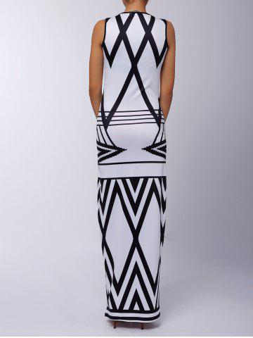 Best Sleeveless Printed Chevron Jersey Maxi Dress - XL WHITE AND BLACK Mobile