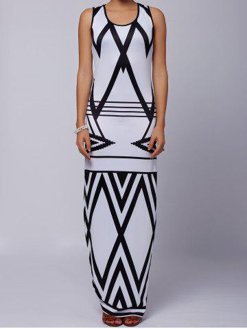 Outfits Sleeveless Printed Chevron Jersey Maxi Dress - XL WHITE AND BLACK Mobile