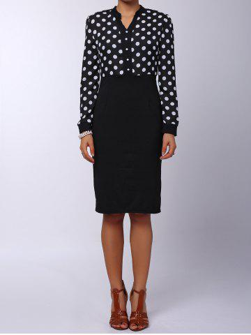 Polka Dot Long Sleeve Business Dress